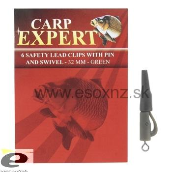 CARP EXPERT 6 SAFETY LEAD CLIPS WITH PIN AND SWIVEL